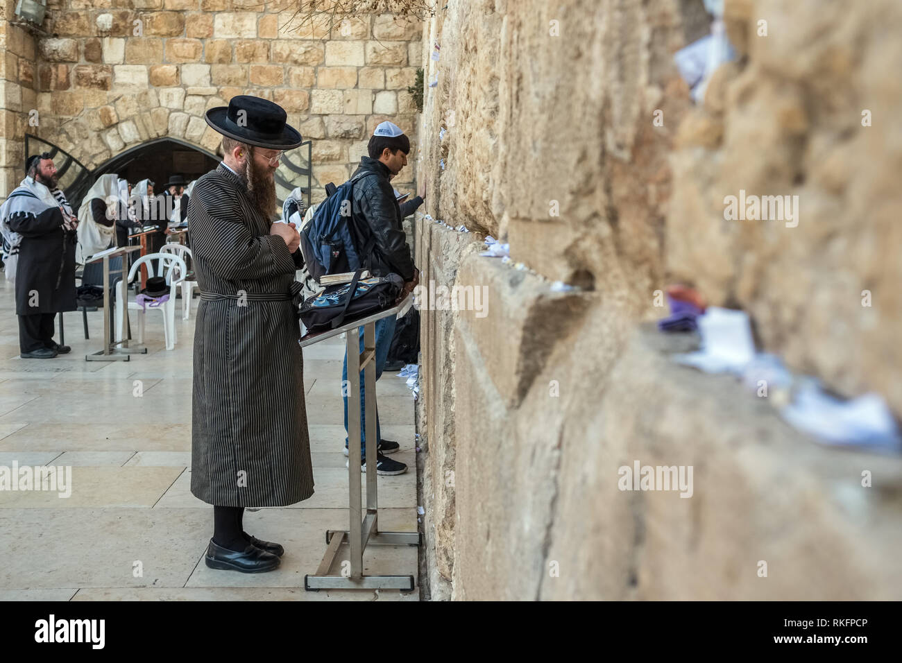 Jerusalem, Israel - November 20, 2018: Religious orthodox jew praying at the Western wall in Jerusalem - Stock Image