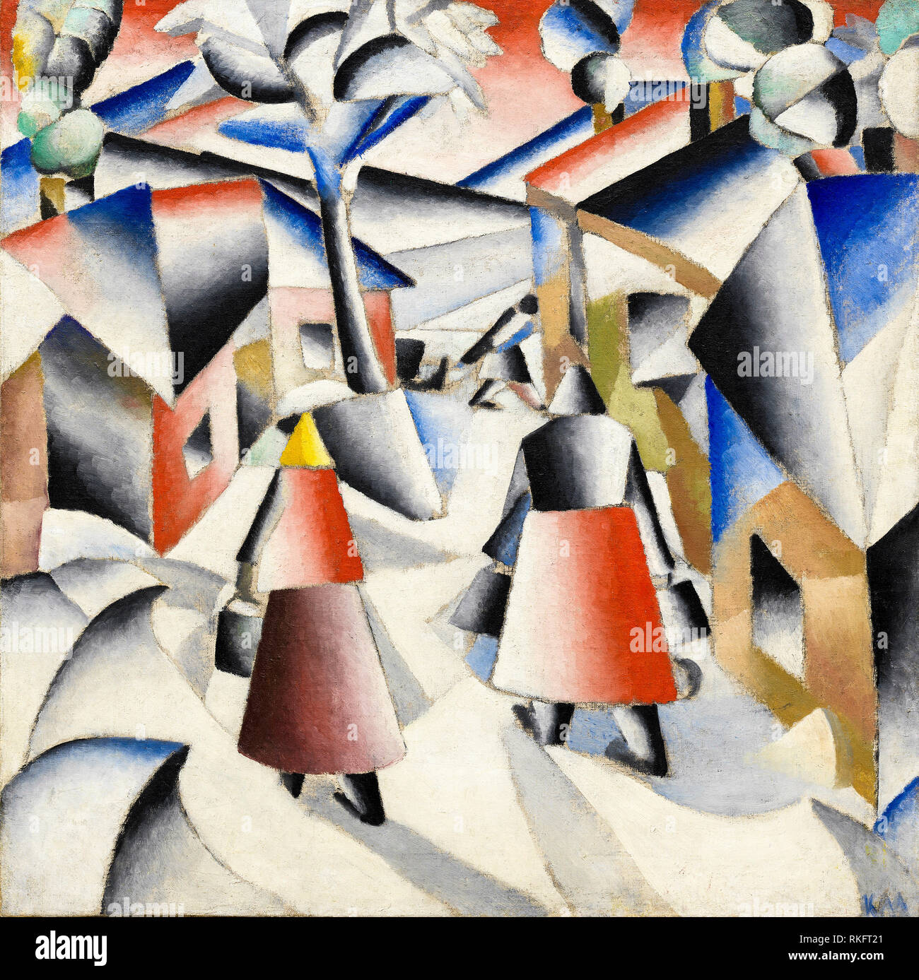 Abstract painting, Morning in the Village after Snowstorm, Kazimir Malevich, 1913 - Stock Image