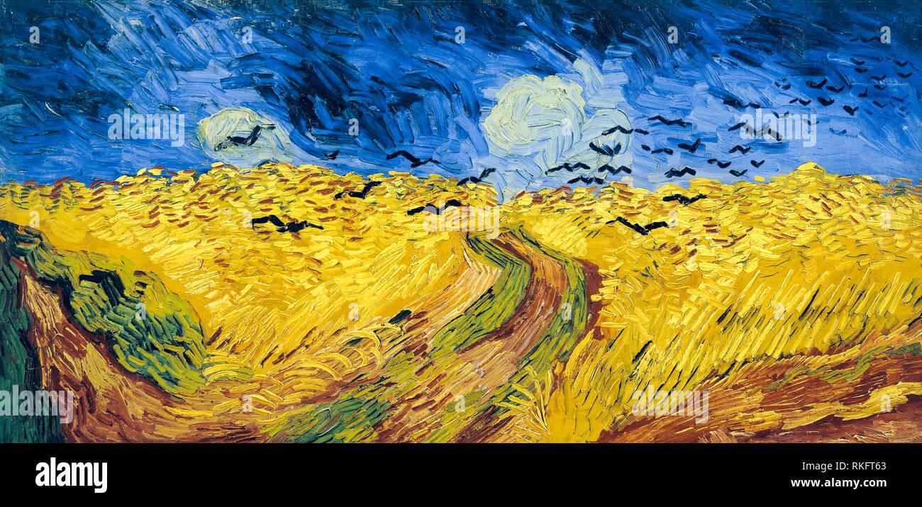 Wheatfield with Crows, Vincent Van Gogh, painting, 1887 - Stock Image