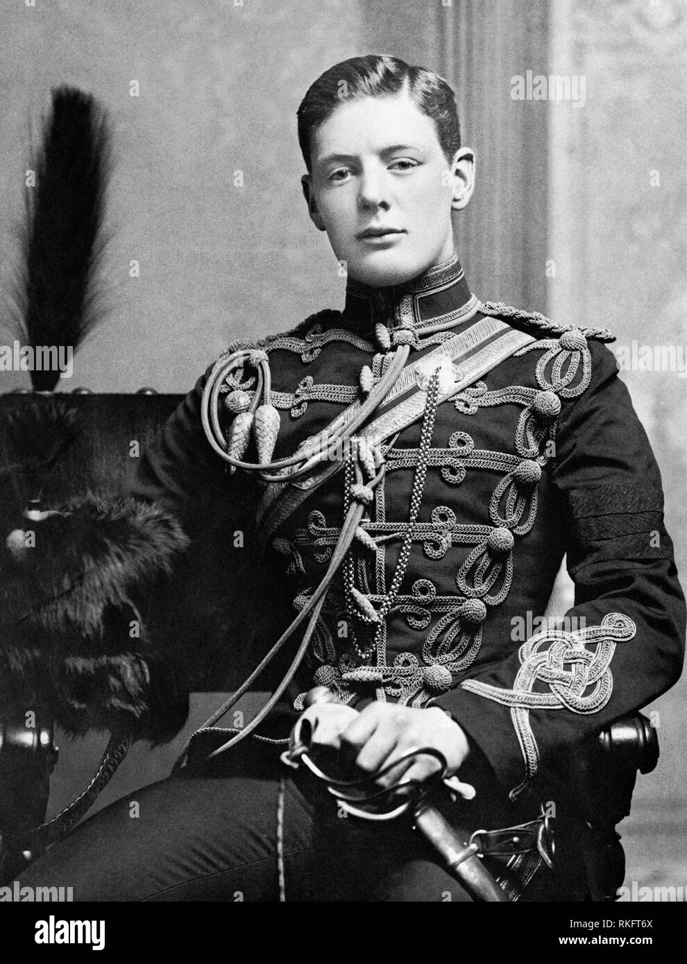 Portrait of 2nd Lieutenant Winston Churchill of the 4th Queen's Own Hussars in 1895 as a young man - Stock Image