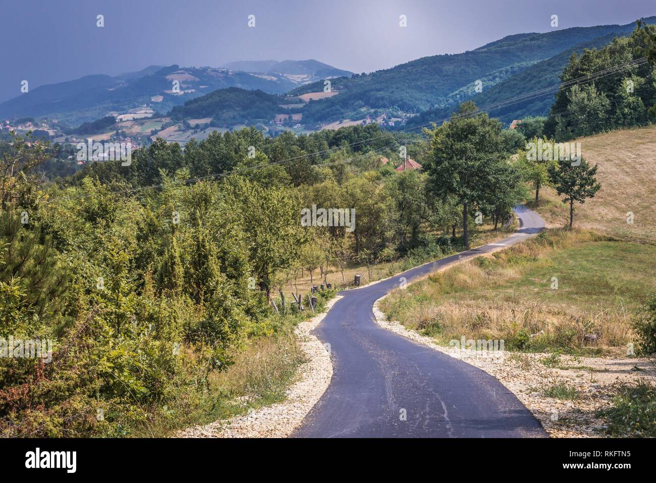 Road in Zlatibor mountainous region in western part of Serbia. - Stock Image