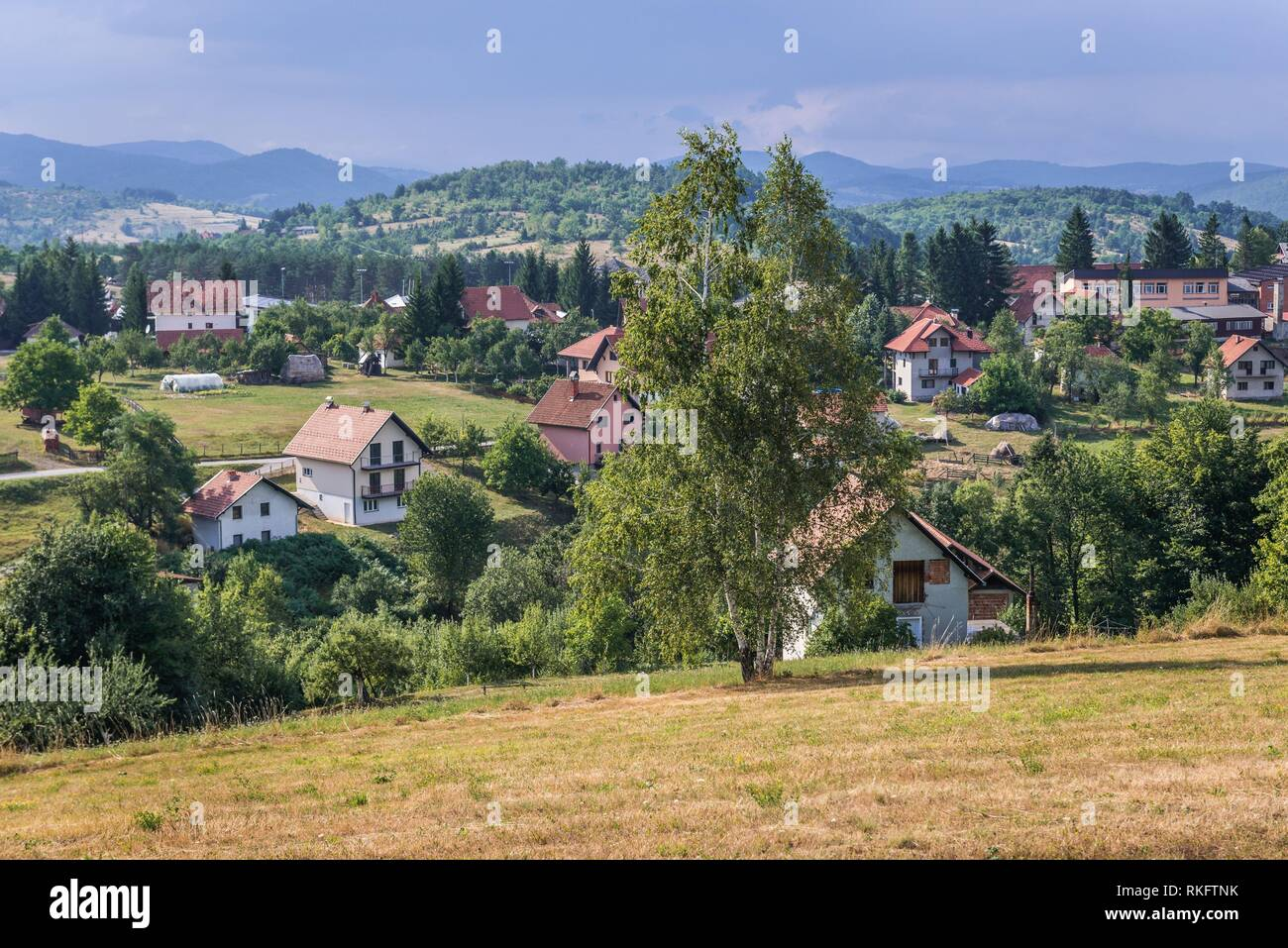 Aerial view of Sirogojno village in Zlatibor mountainous region in western part of Serbia. - Stock Image