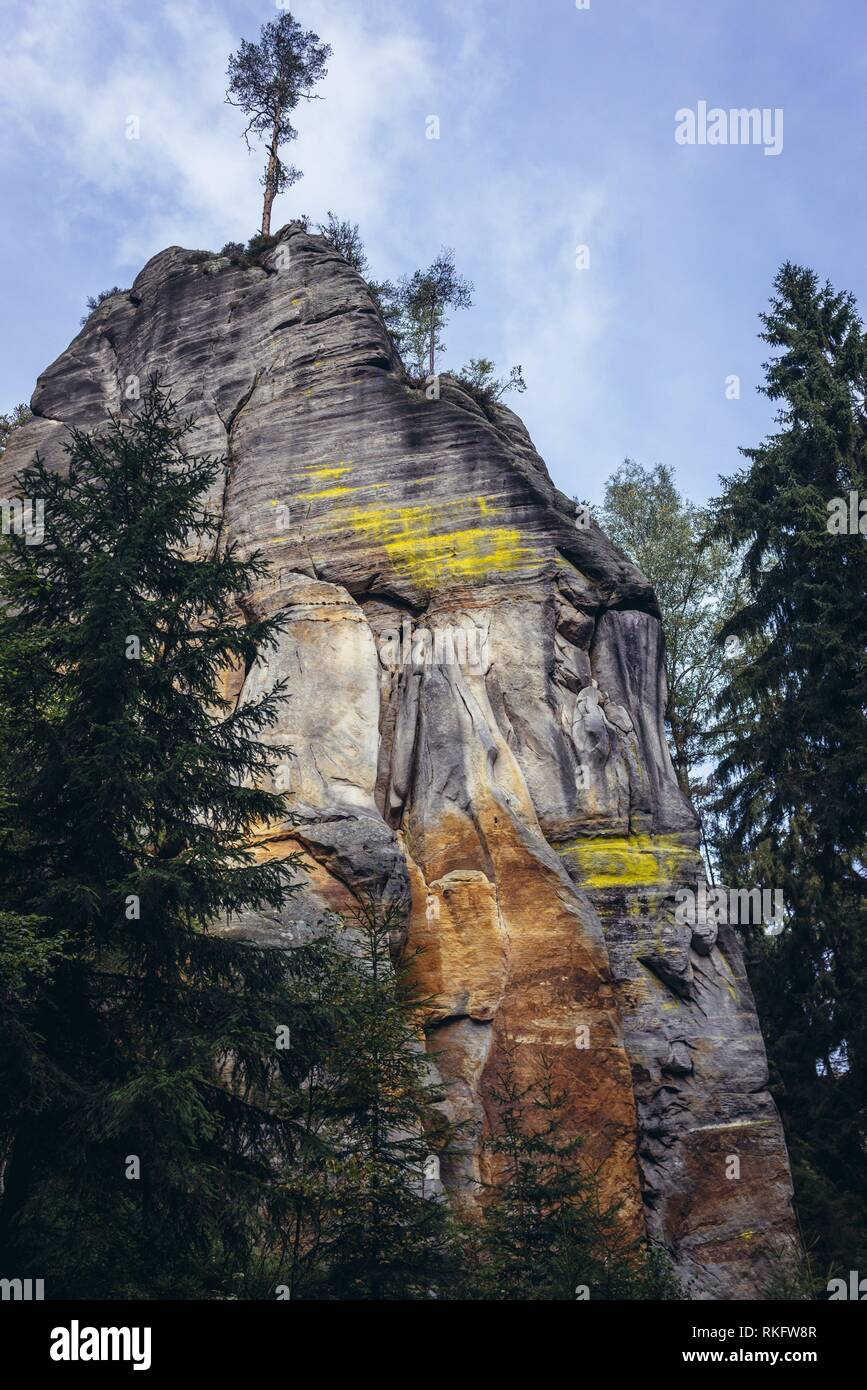 High rocks in National Nature Reserve Adrspach-Teplice Rocks near Adrspach village in northeastern Bohemia region, Czech Republic. - Stock Image