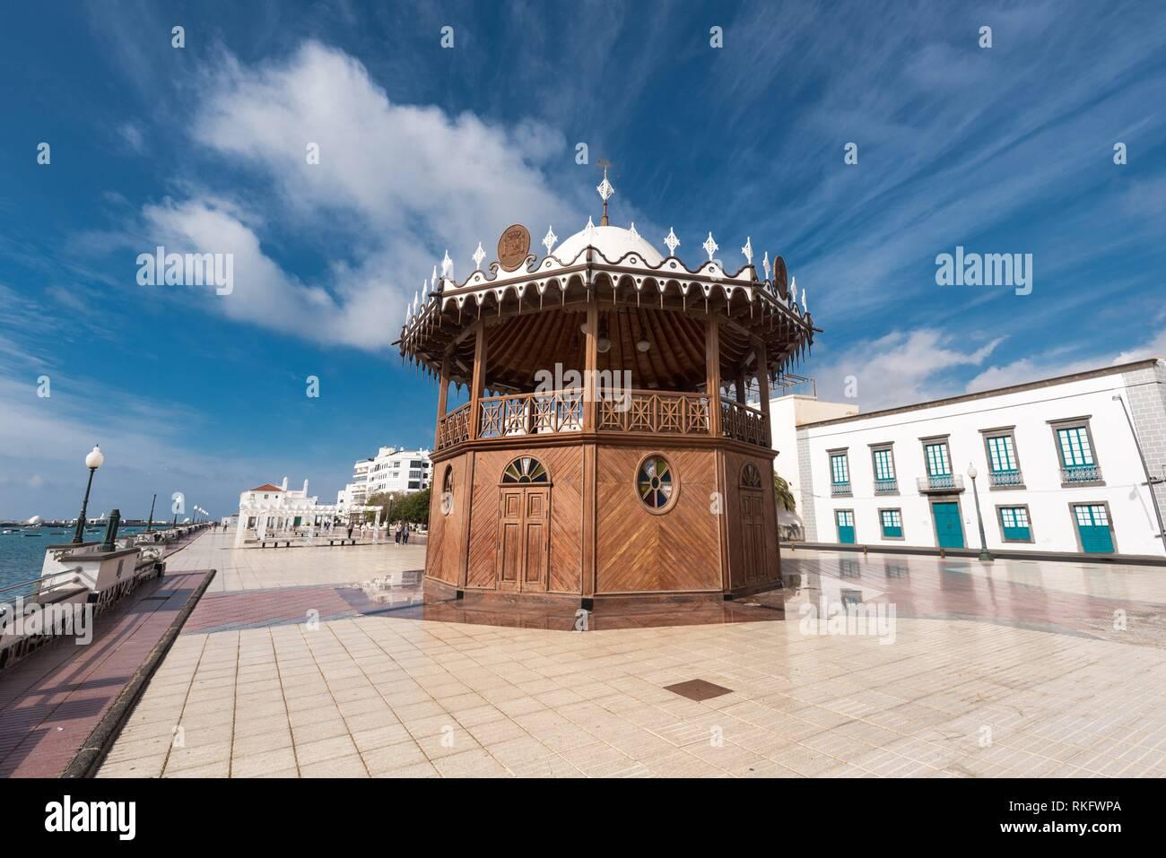 Arrecife cityscape, bandstand and promenade in Lanzarote, Canary islands, Spain. - Stock Image