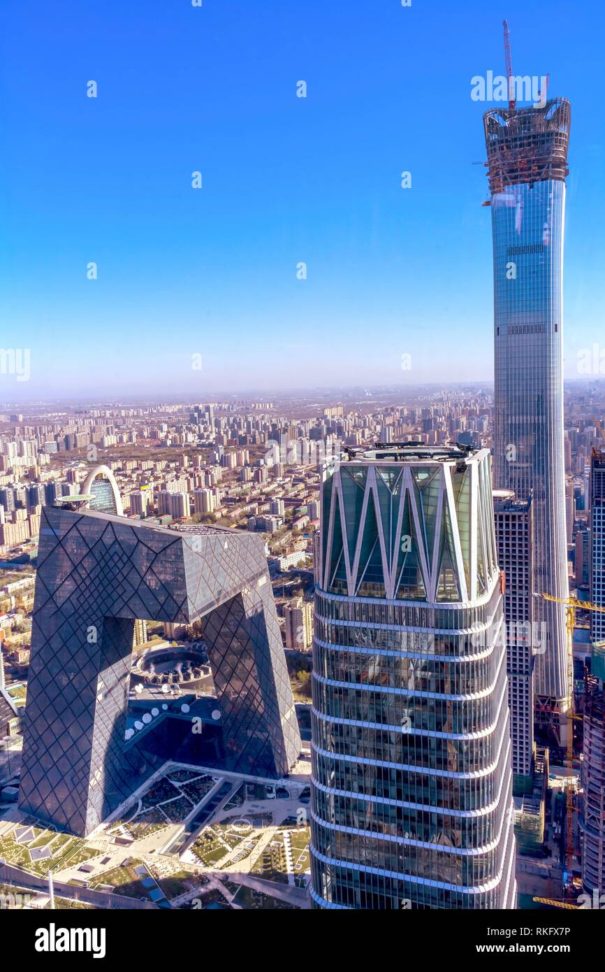 China World Trade Center Z15 Towers Skyscrapers CCTV Pants Building Guamao Centrall Business District Beijing China. - Stock Image