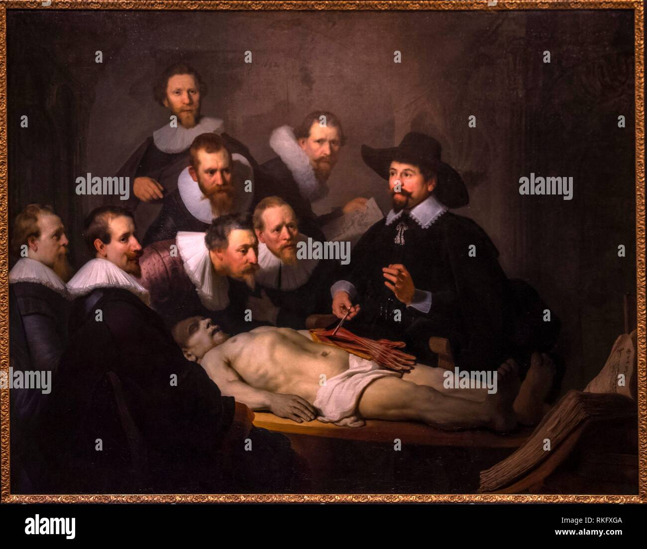 Nedherlands, Den Haag, Mauritshuis Museum: ''The Anaamtomy Lesson od Dr. Nicolaes Tulp'' By Rembrandt, 1632. - Stock Image