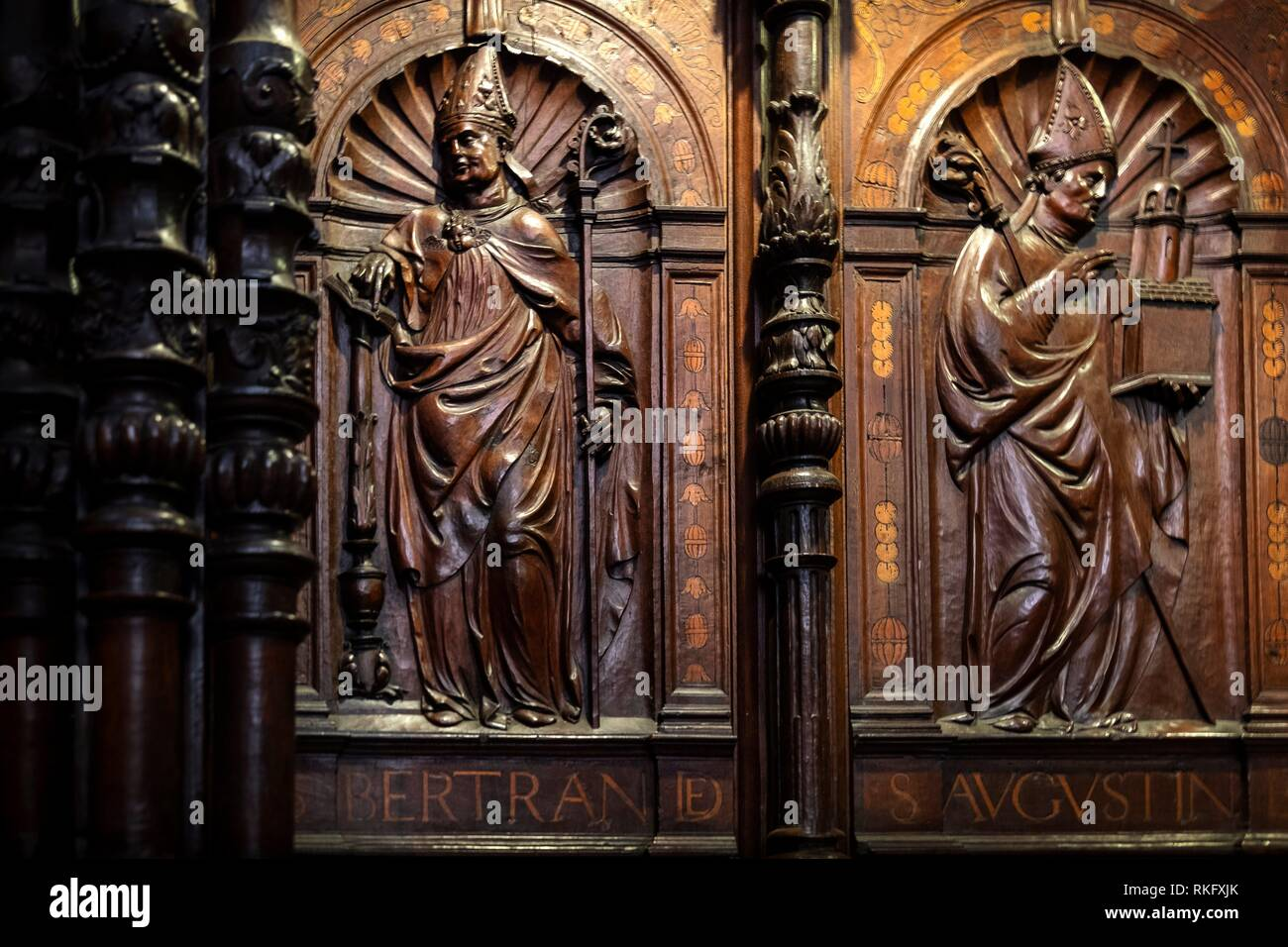 France, Occitanie, Haute Garonne, Choir, Renaissance style, at the Sainte Marie cathedrale, at Saint Bertrand de Comminges. Pilgrimage way to - Stock Image