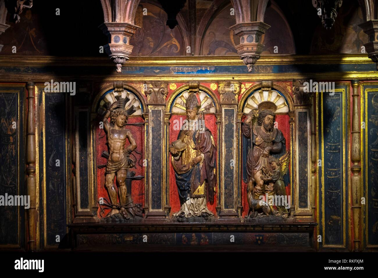 France, Occitanie, Haute Garonne, Detail of the Jube of the Choir, Renaissance style, at the Sainte Marie cathedrale, at Saint Bertrand de Comminges. - Stock Image