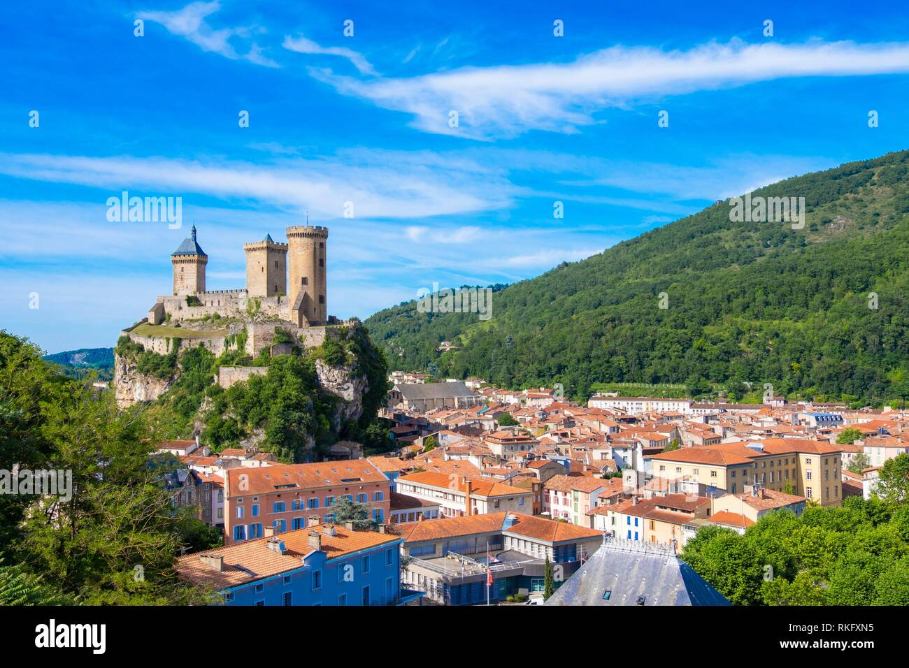 France, Occitanie,Ariege, the town of Foix. Stock Photo