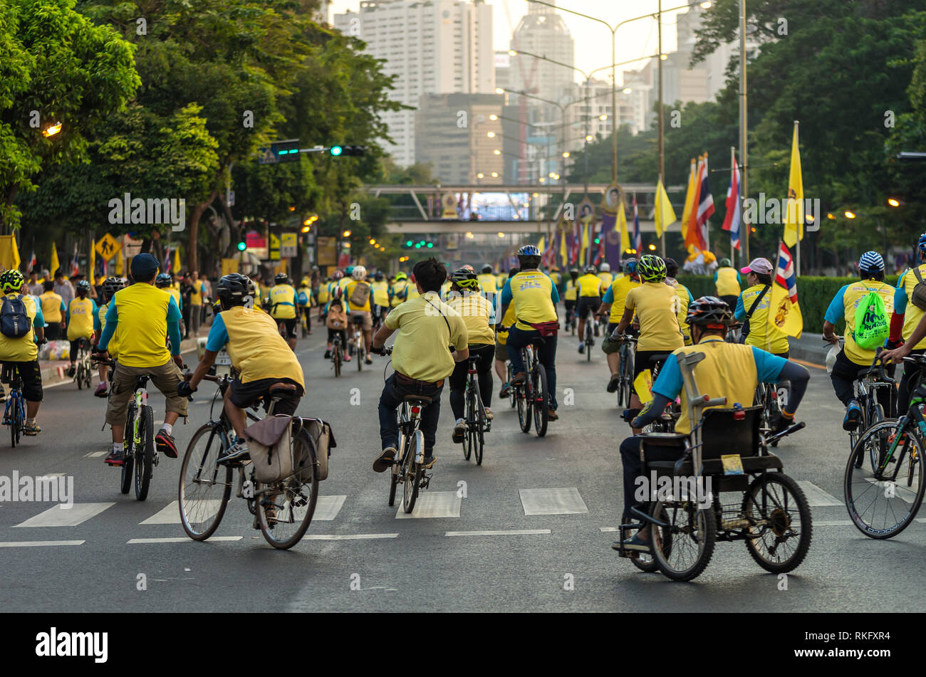 BANGKOK - DEC 11 : Event 'Bike for dad' from Thailand. Many people go to Bike for dad event to show respected to The King of Thailand on December 11,  - Stock Image