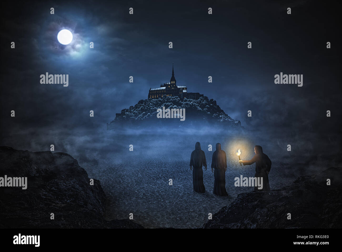 Three monks are going to the abbey Mont Saint Michel under the night sky with big moon. Matte painting. Stock Photo