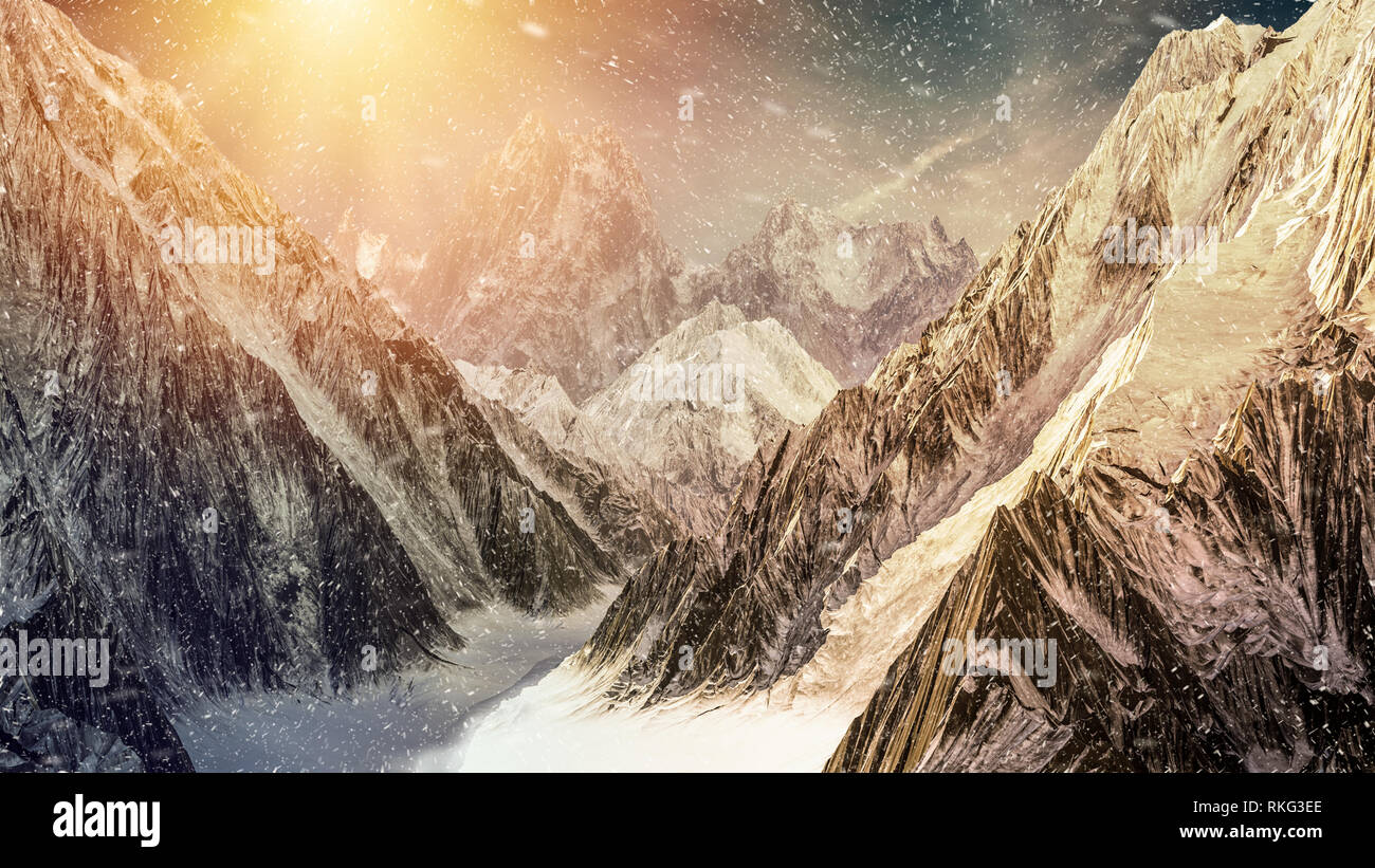 High mountains under the dramatic sunset sky with snow falling. 3D render illustration. Stock Photo