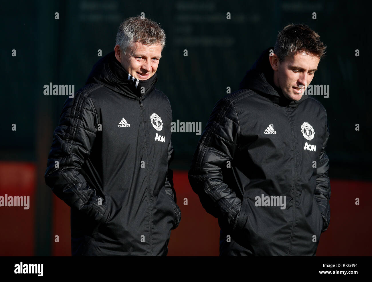 Manchester United Caretaker Manager Ole Gunnar Solskjaer Left And Coach Kieran Mcmannus During The Training Session At The Aon Training Complex Manchester Stock Photo Alamy