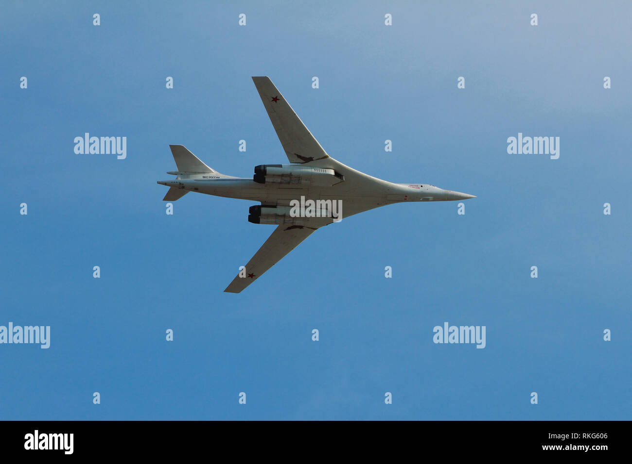 Kazan, Russia - Aug 10, 2018: TU-160 plane in flight Stock Photo