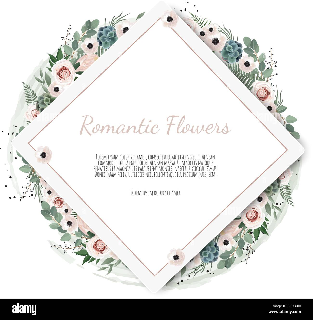 Floral wreath with green eucalyptus leaves, flower rose, anemone . Frame border with copy space. - Stock Vector