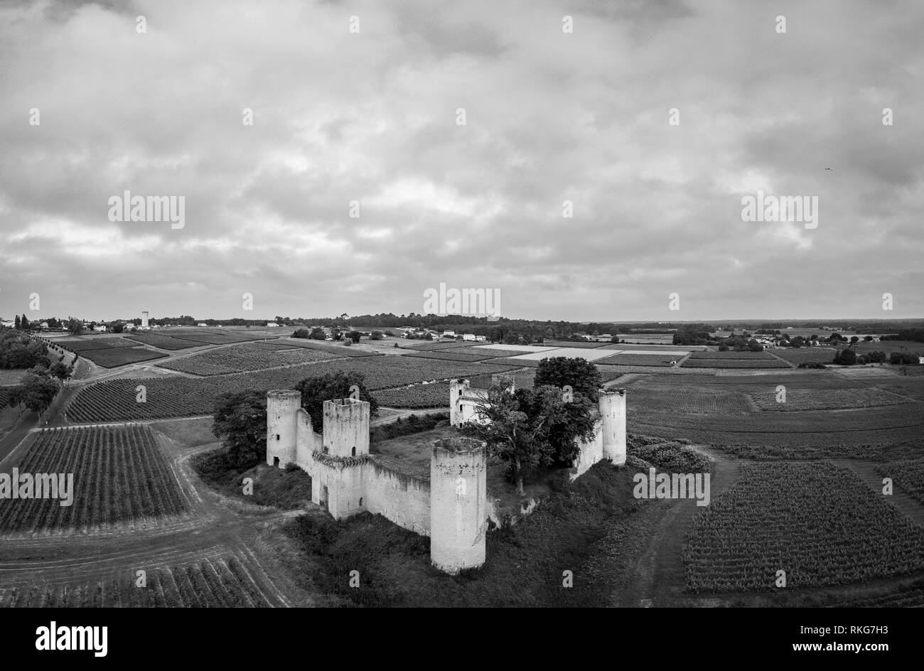 Aerial view Chateau de Budos and wheat field in summer , Bordeaux, Gironde, Aquitaine, France - Stock Image