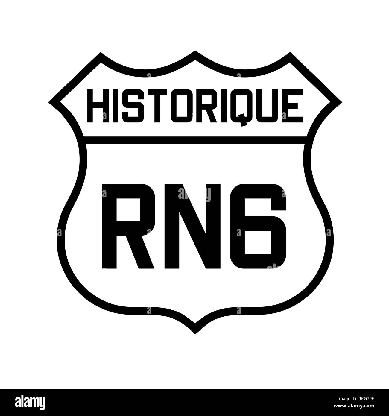 Historic route nationale 6 in France sign - Stock Image