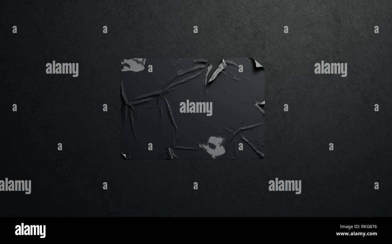 Blank Black Wheatpaste Adhesive Torn Poster Mockup On Dark Wall