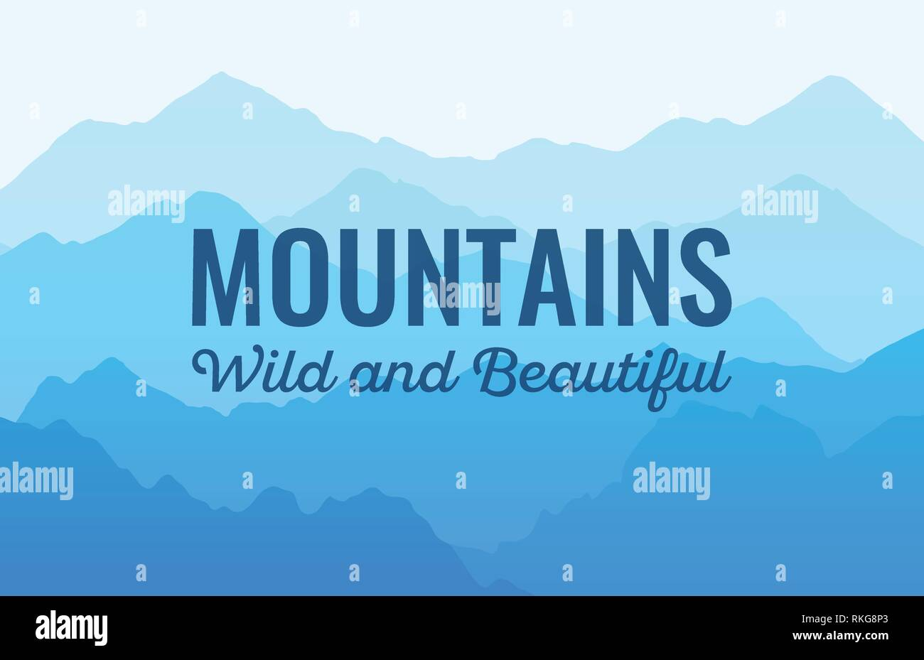 Mountauns, Wild and Beautiful - Vector scenic landscape - Stock Vector