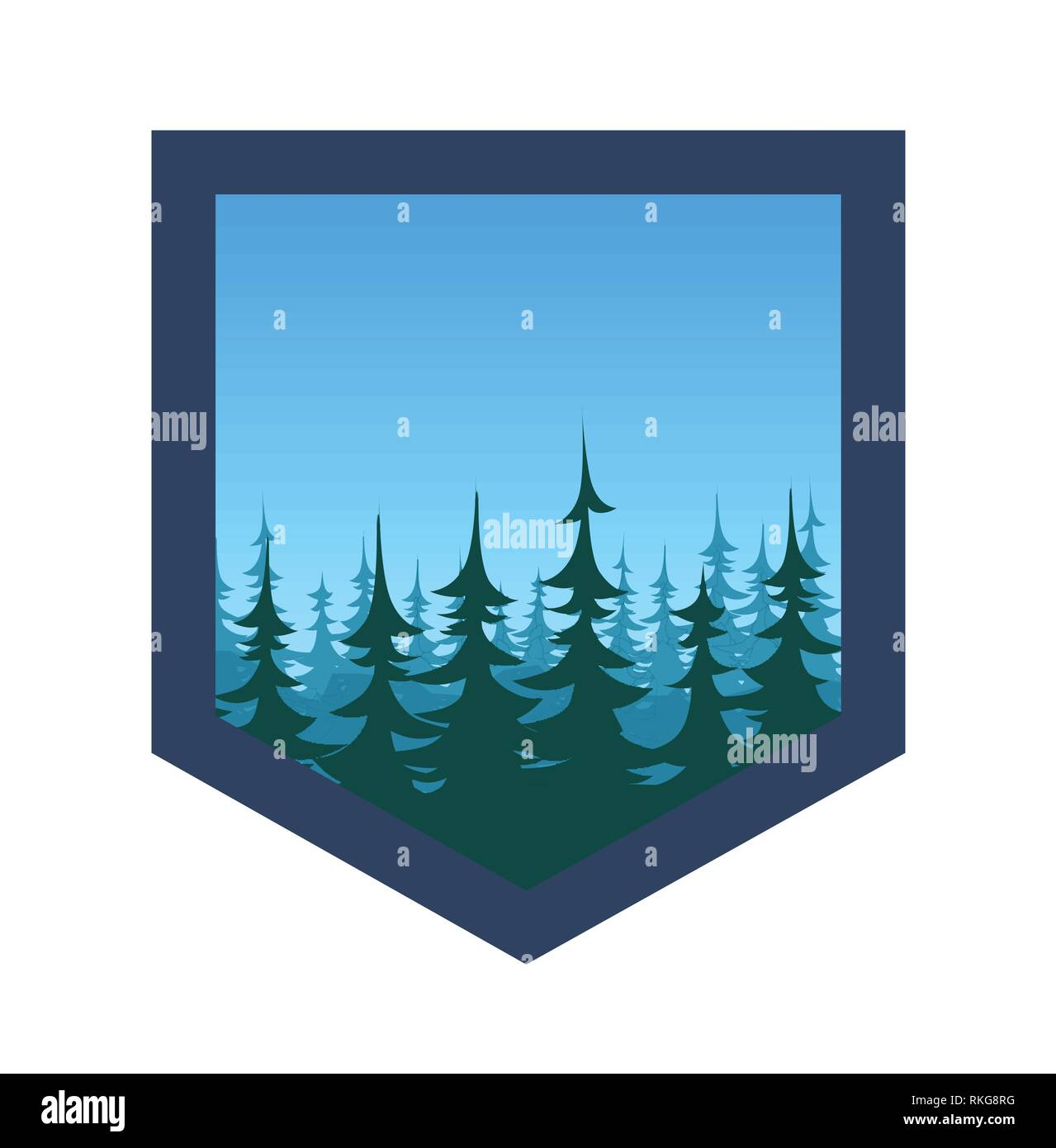 Expedition Badge with Forest under blue sky, vector illustration - Stock Image