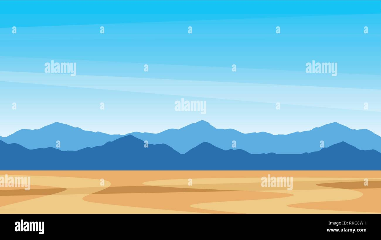 Beautiful southern scenic landscape with mountains - Southern view Texas - Stock Vector