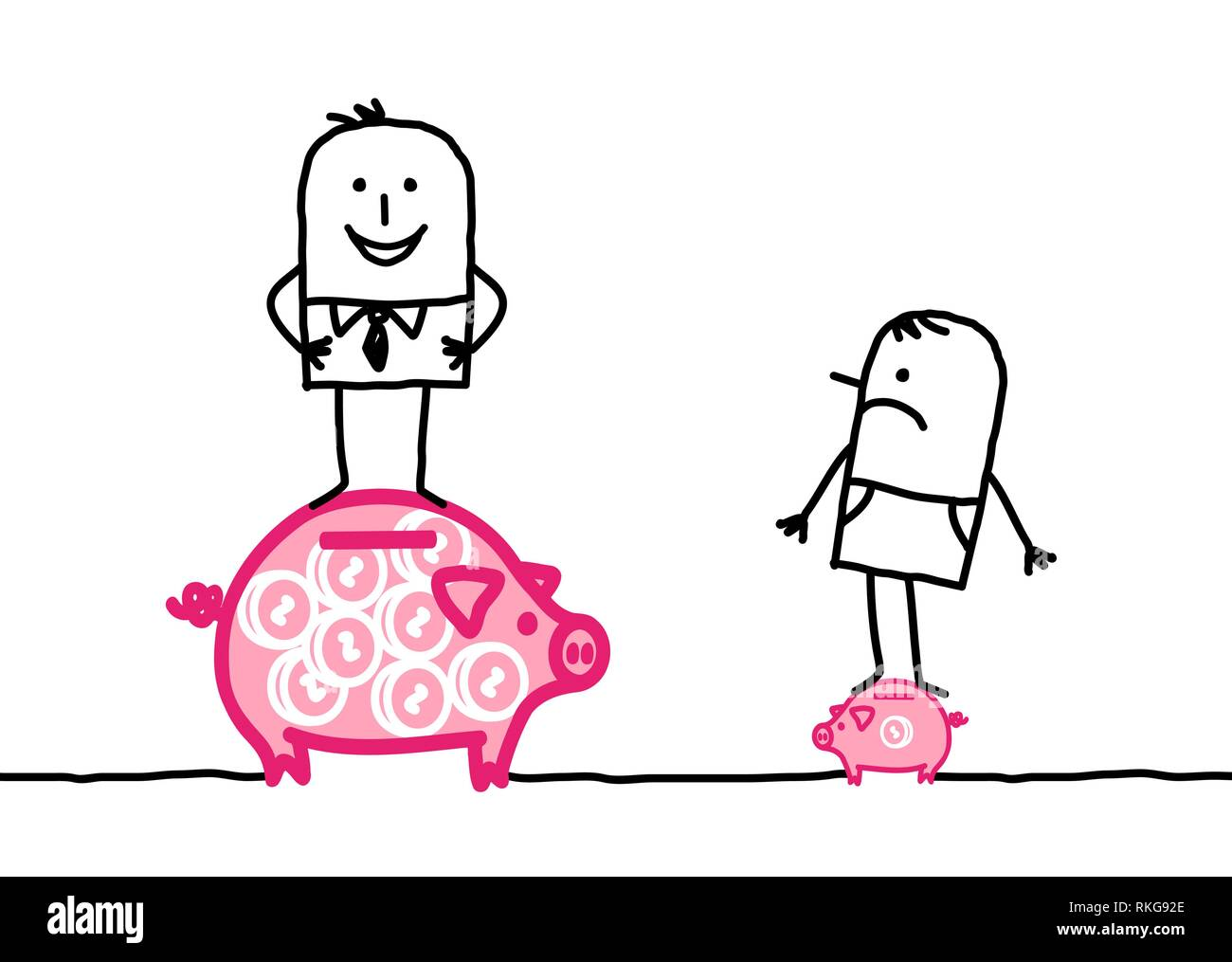Cartoon rich man and poor man - Stock Image