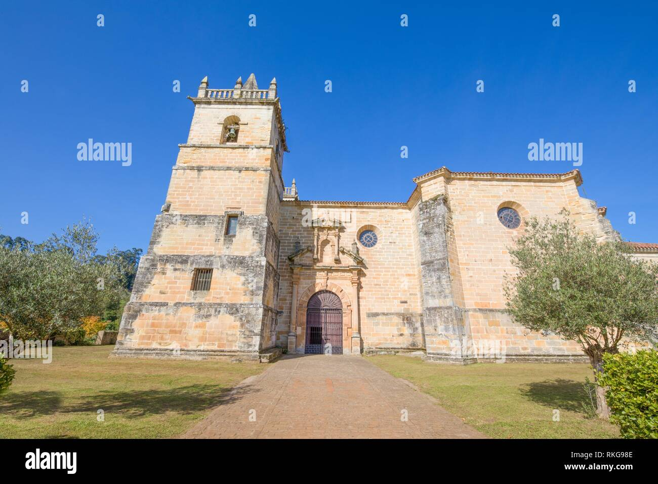 church of Saint Martin de Tours, colonial baroque style monument from 1768, in Ciguenza, Alfoz Lloredo, Cantabria, Spain, Europe. - Stock Image