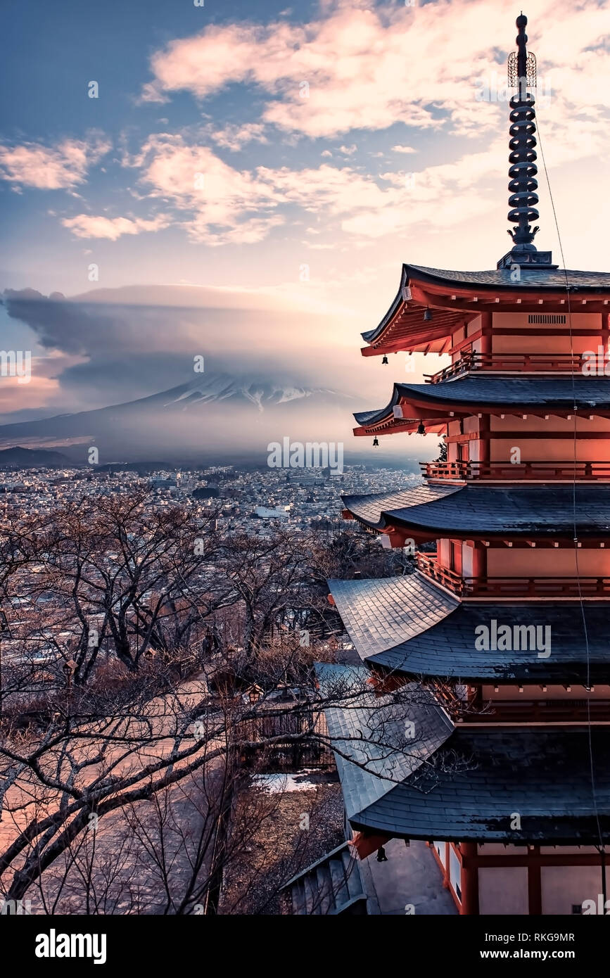 Famous Place of Japan with Chureito pagoda and Mount Fuji at sunset Stock Photo