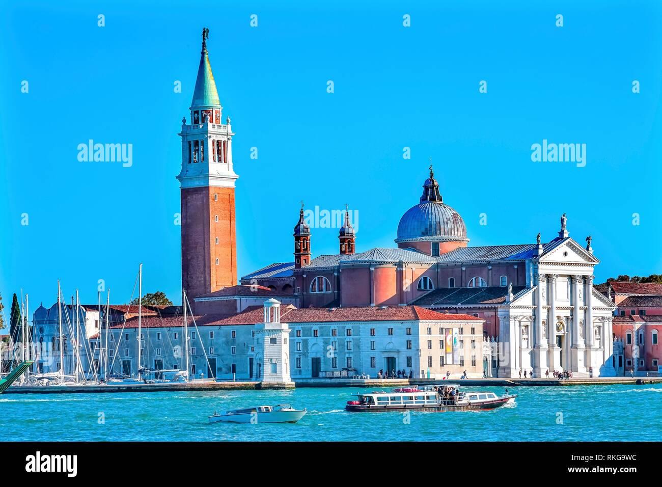 San Giorgio Maggiore Church Grand Canal Boats Venice Italy. 16th Century Benedictine Church on Island Venice Lagoon. Stock Photo