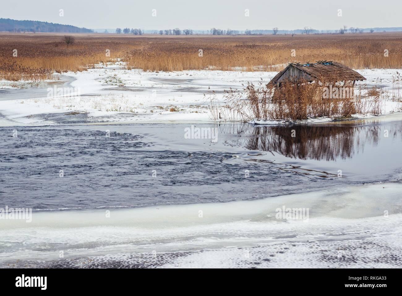 Hay rack on a frozen braided channel of Narew River in Waniewo village, Wysokie Mazowieckie County in Podlaskie Voivodeship of northeastern Poland. - Stock Image