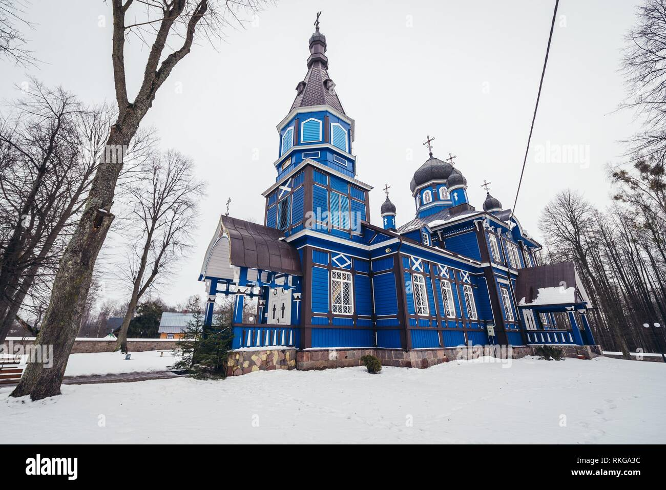 Orthodox church of Protection of the Mother of God in Puchly village, Hajnowka County in Podlaskie Voivodeship of northeastern Poland. - Stock Image