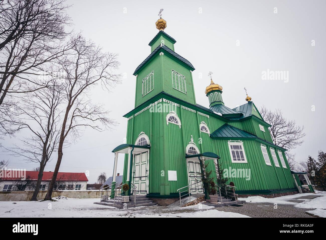 Orthodox Church of Saint Michael the Archangel in Trzescianka village, Hajnowka County in Podlaskie Voivodeship of northeastern Poland. - Stock Image
