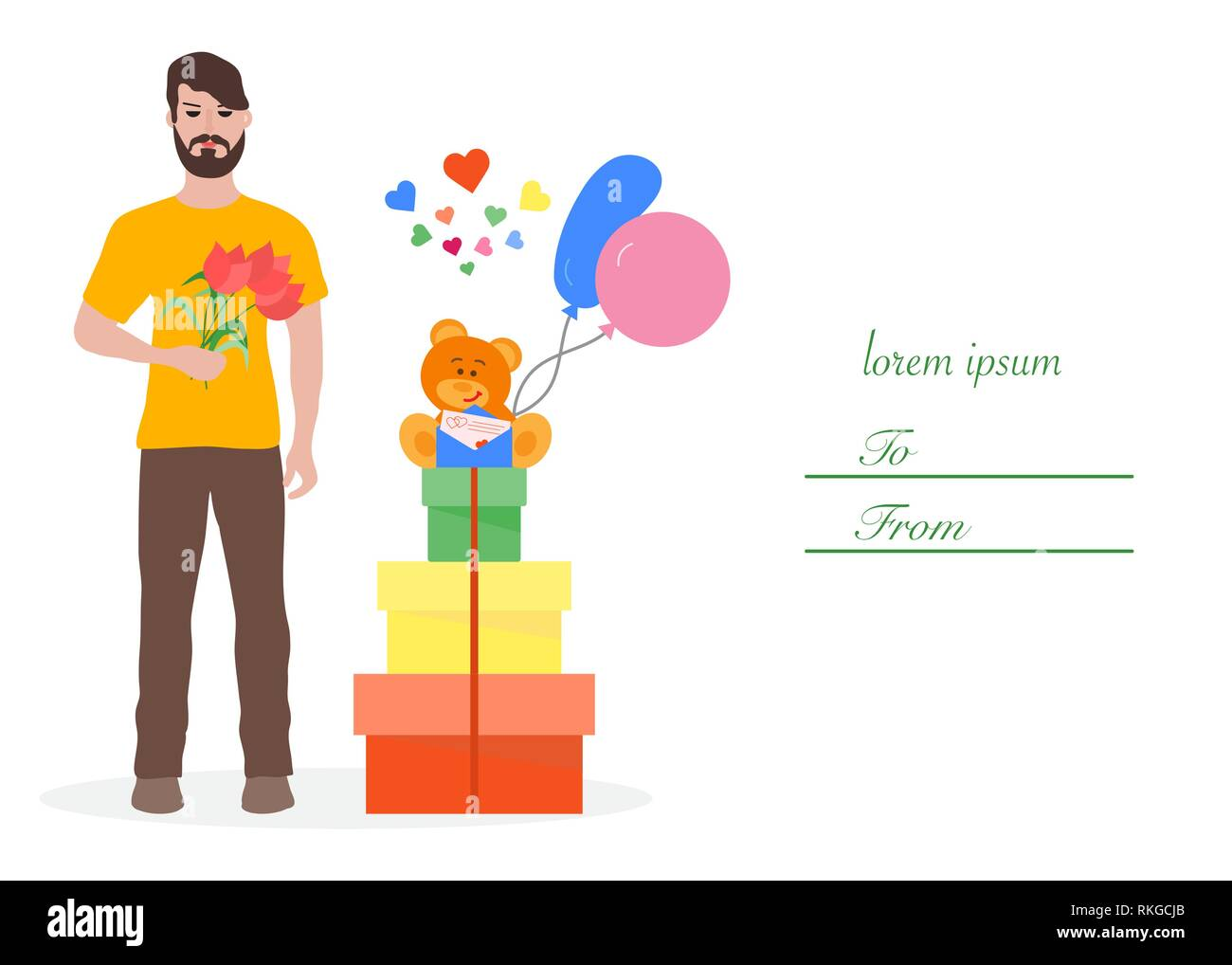 Young Man With Flowers And Gift Boxes Balloons Soft Toy Bear Birthday Valentines Day Mothers Vector Background Design For Greeting Card B