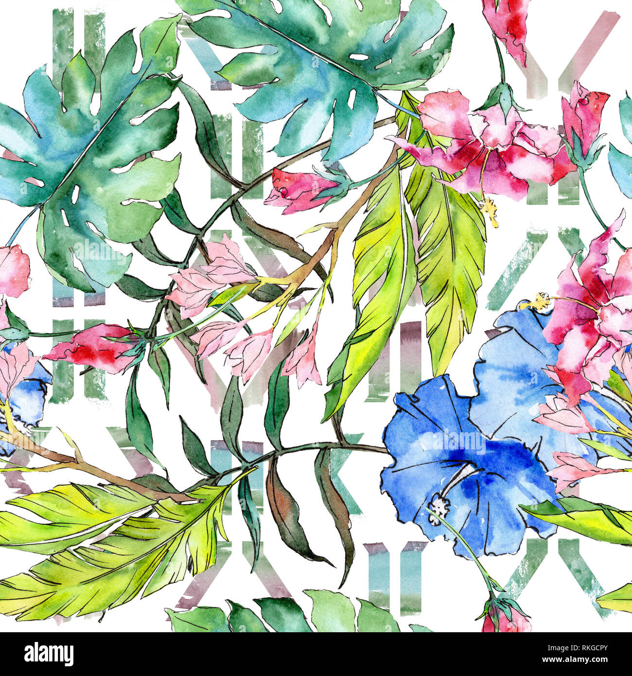 Blue And Pink Exotic Tropical Hawaiian Floral Flower Watercolor