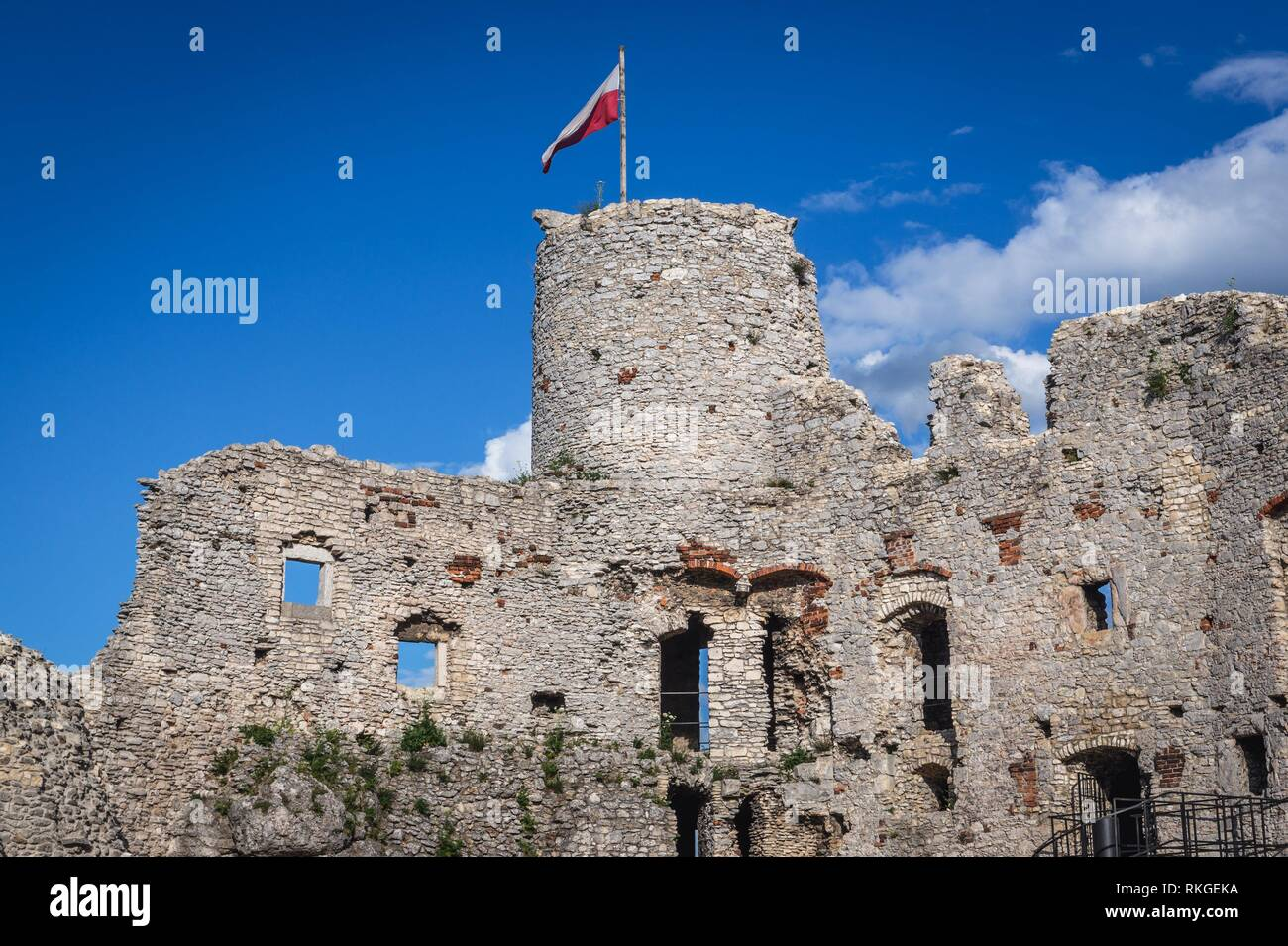 Ruins of Ogrodzieniec Castle in Podzamcze village, part of the Eagles Nests castle system in Silesian Voivodeship of southern Poland. Stock Photo