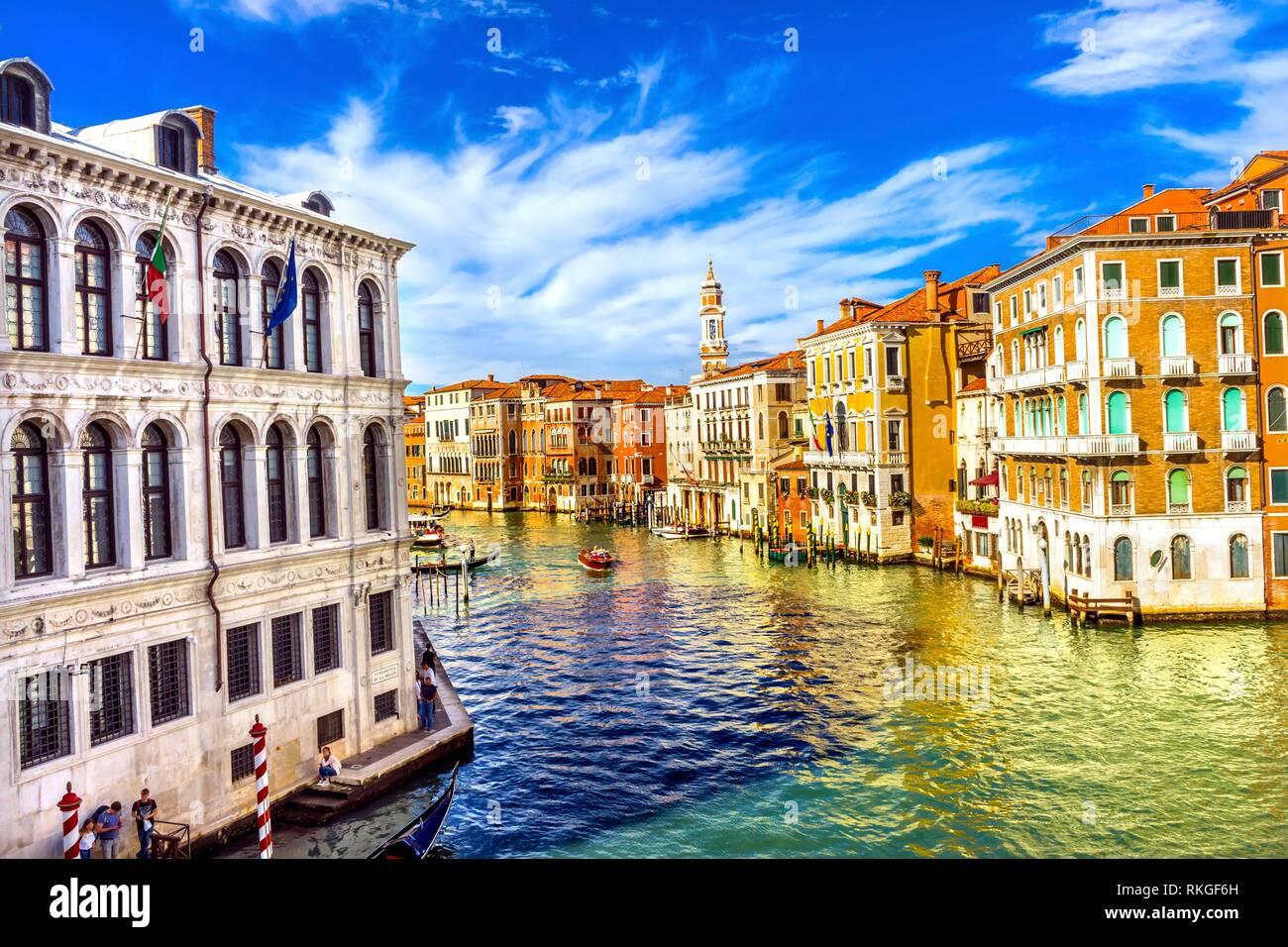 Colorful Grand Canal From Rialto Bridge Touirists Grand Canal Venice Italy. Stock Photo