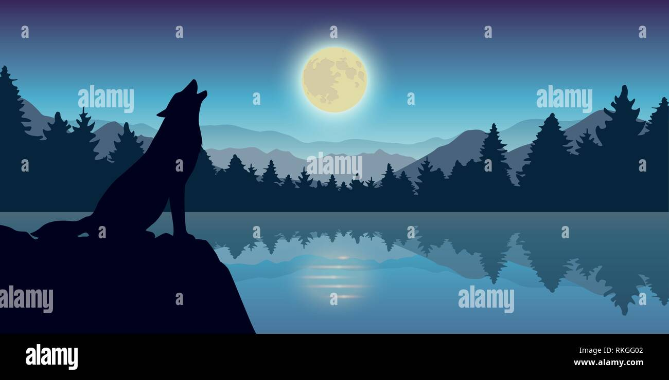 wolf howls at full moon by the lake nature landscape vector illustration EPS10 - Stock Image