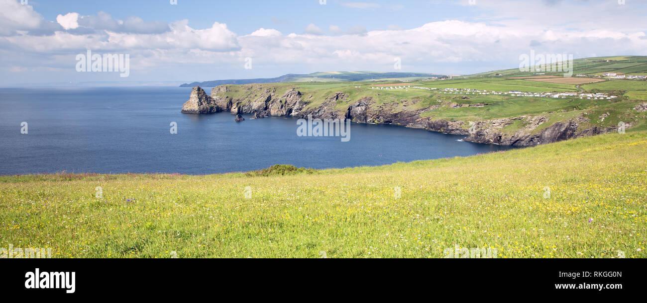 View of the Cornish coastline at Willapark near Tintagel Cornwall uk - Stock Image