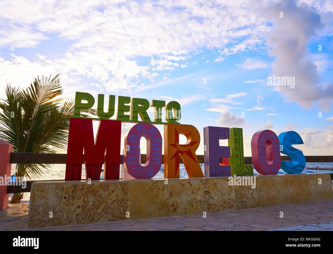 Puerto Morelos word sign in sunrise Mayan Riviera Maya of Mexico. - Stock Image
