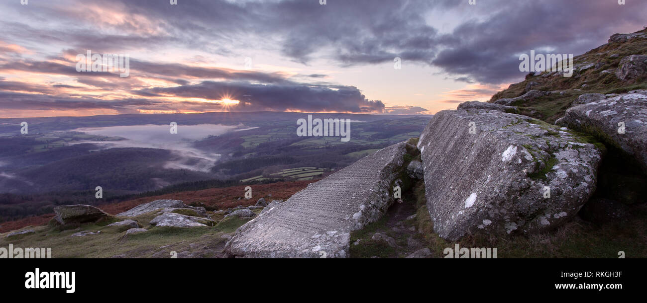 Sunset at the Commandments stones on Buckland Beacon Dartmoor national park Devon Uk - Stock Image
