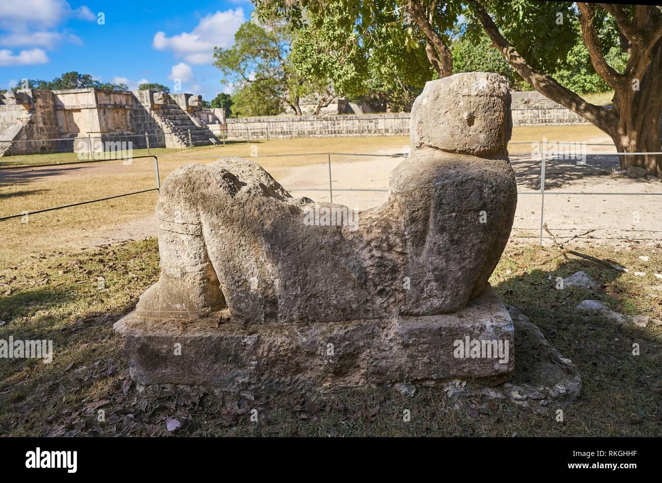Chichen Itza Chac Mool sculpture at Yucatan Mexico. - Stock Image