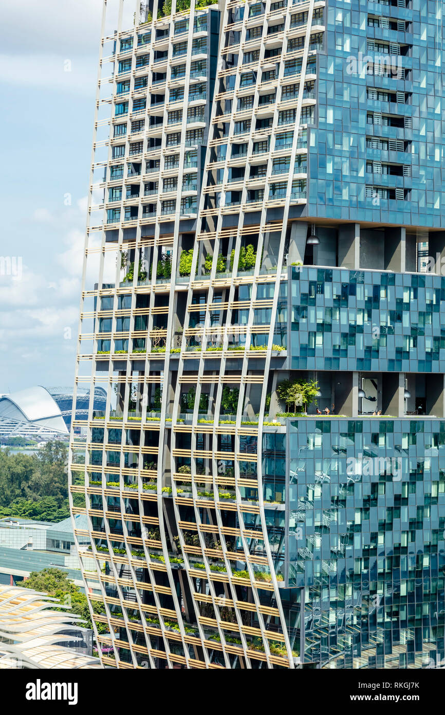 South Beach Tower on Beach Road, Singapore, architecture, building facade details, architect: Foster + Partners - Stock Image