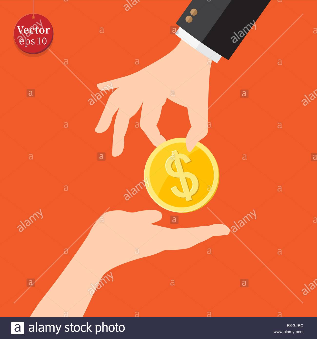 Hand giving money to another hand - Stock Image