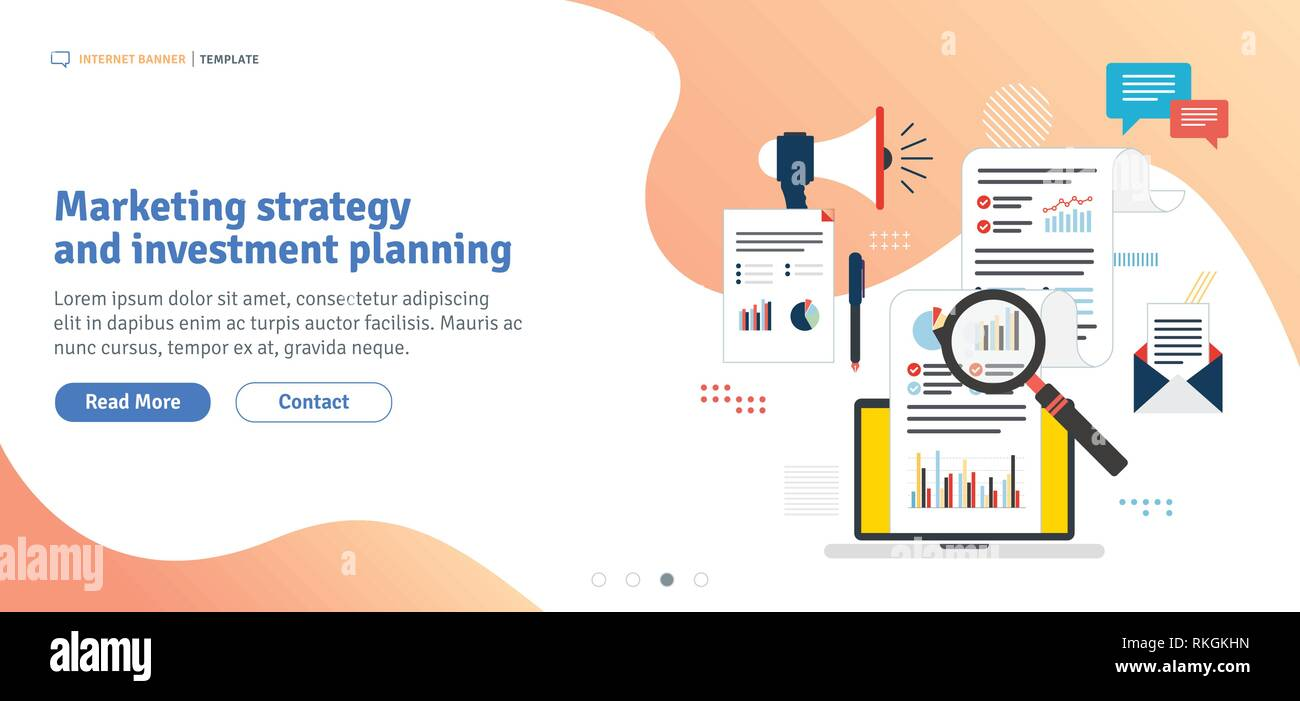 Marketing Strategy And Investment Planning Data Analysis Digital Marketing And Business Marketing Template In Flat Design For Web Banner Or Infogr Stock Vector Image Art Alamy