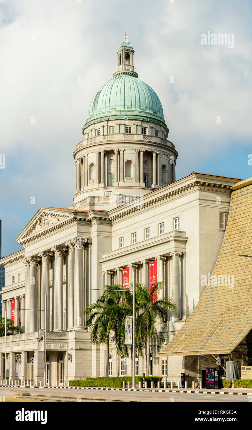architectural details of exterior facade of National Gallery Singapore fine art museum, former Supreme Court and City Hall Stock Photo
