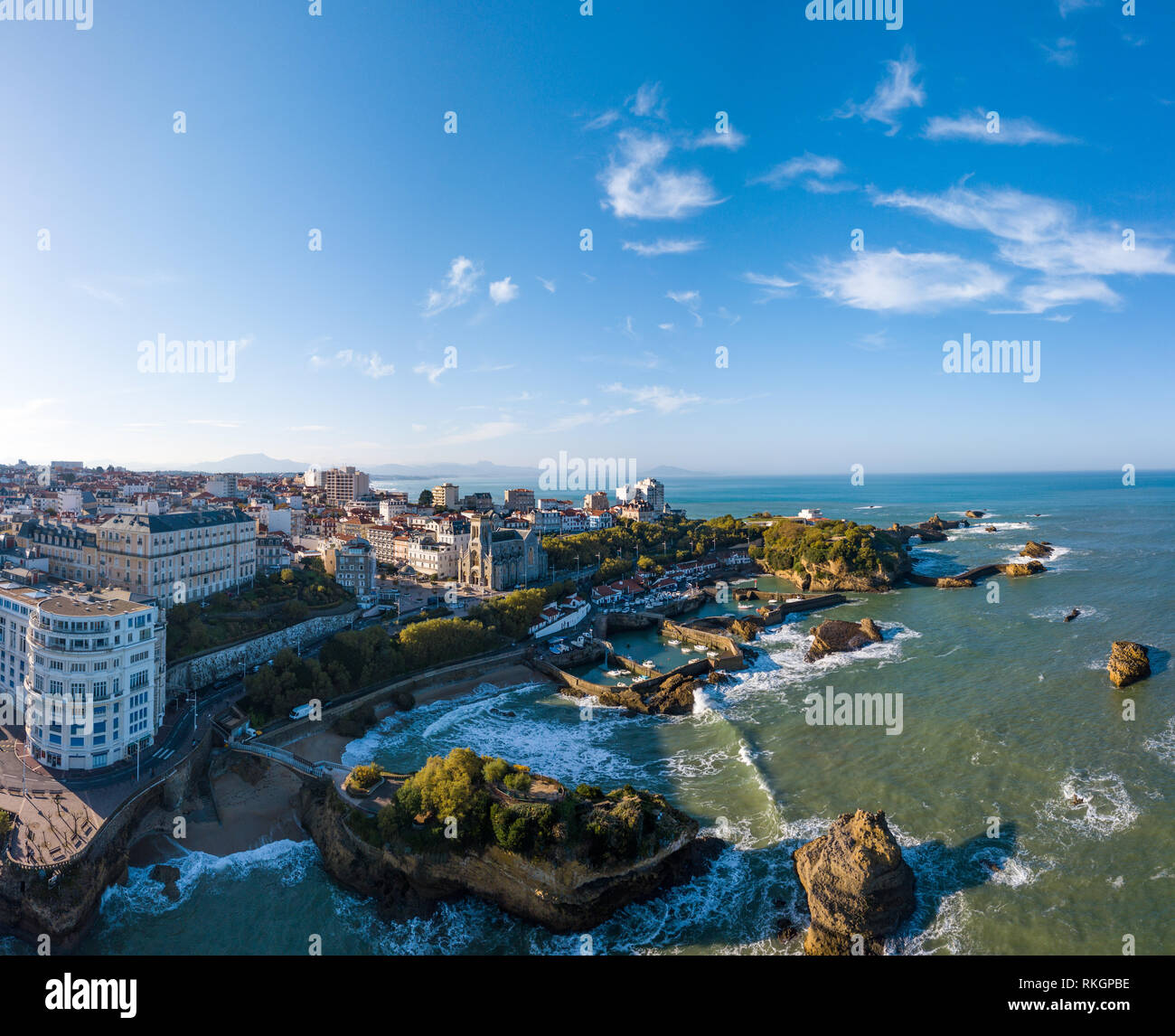 Biarritz city and its famous sand beaches, Miramar and La Grande Plage, Bay of Biscay, Atlantic coast, Pays Basque, France Stock Photo