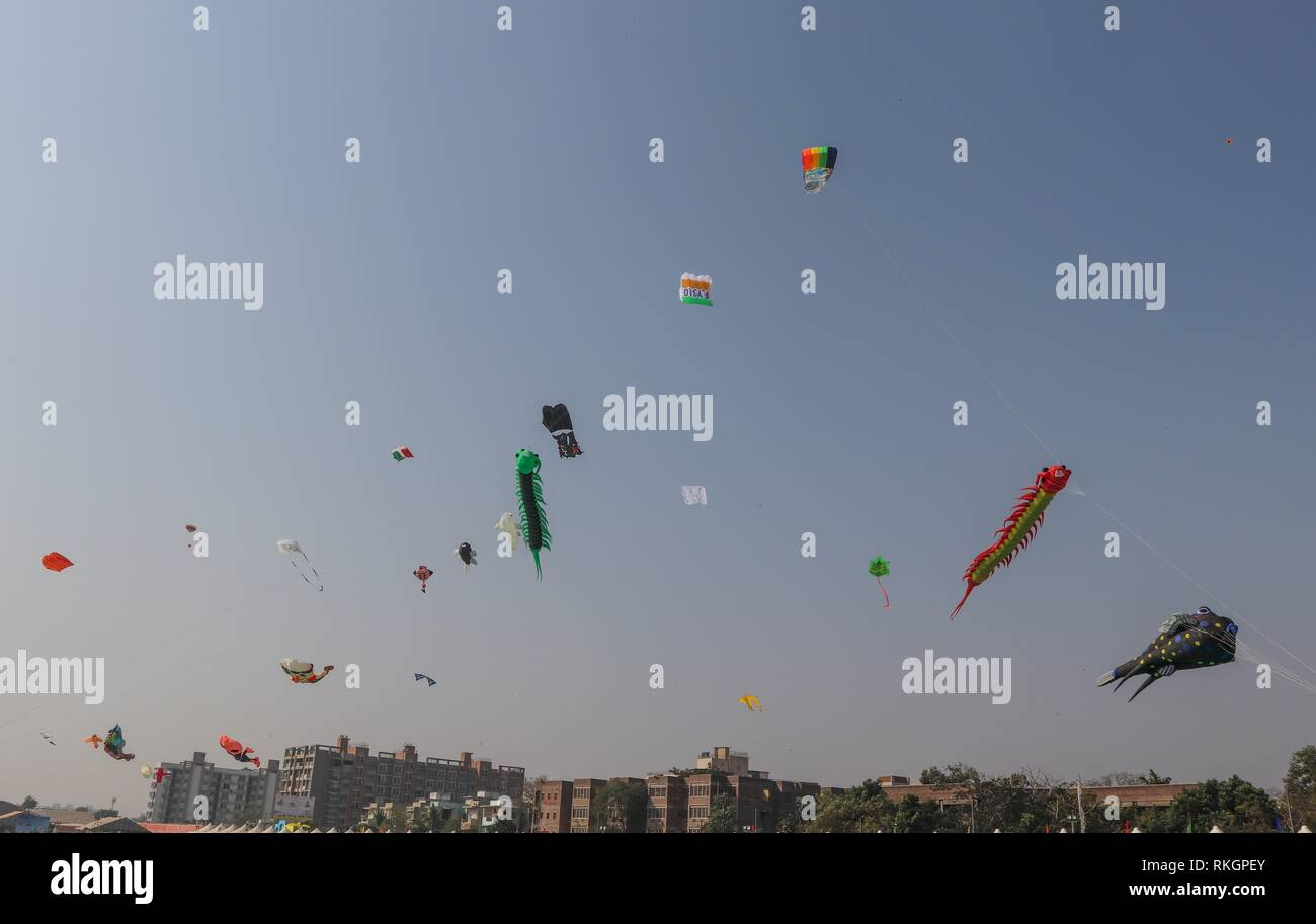 International Kite Festival-2019, Ahmedabad-India - Stock Image