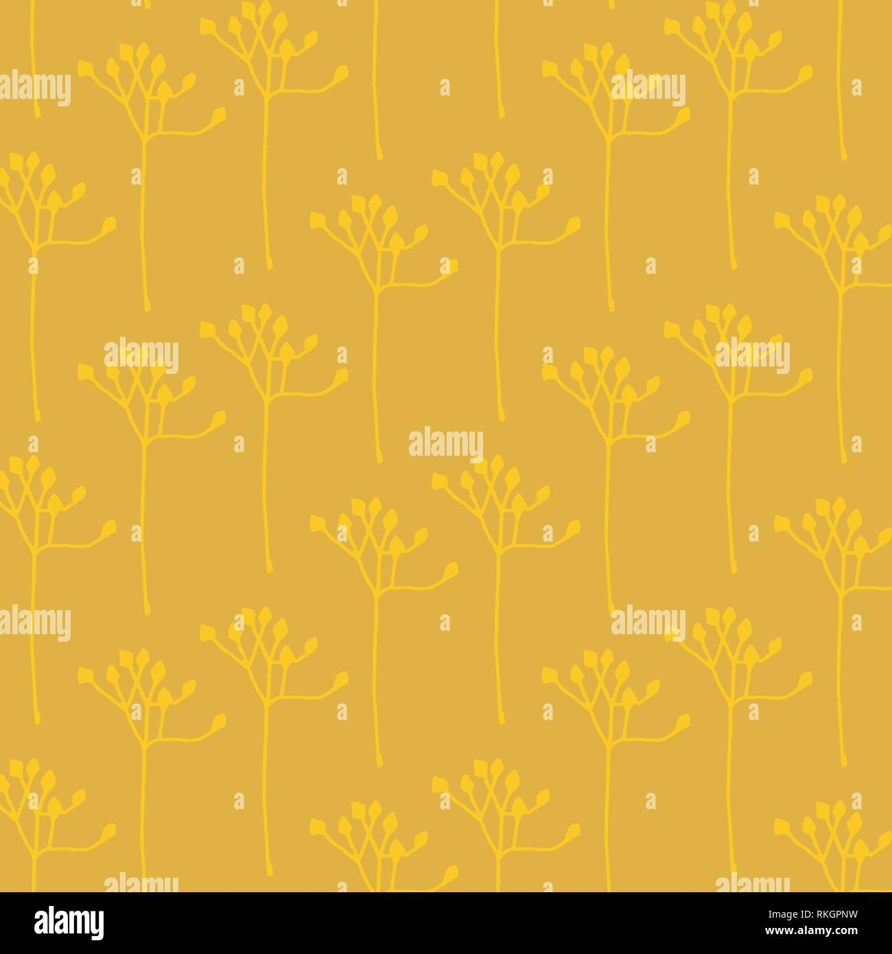 Hand drawn abstract floral vector pattern in gold and yellow colors palett - Stock Image