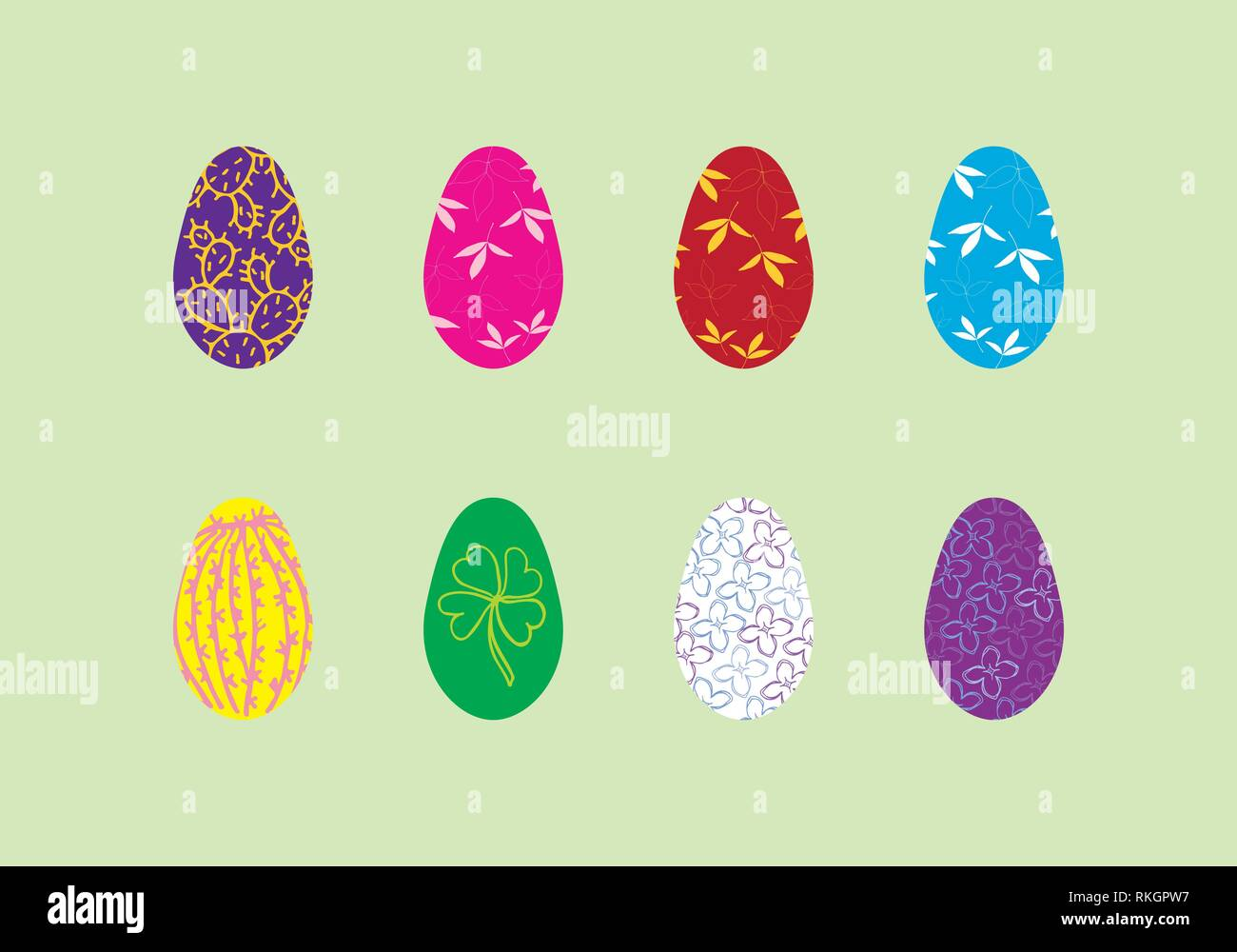Easter eggs set with floral illustration, leaves and cactus, vector template on green background - Stock Image