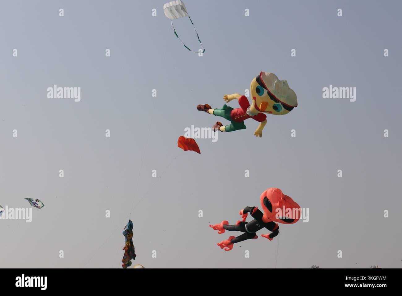 International Kite Festival-2019, Ahmedabad-India - Stock Image
